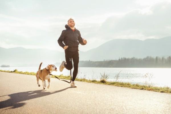 飼い主とジョギングする犬