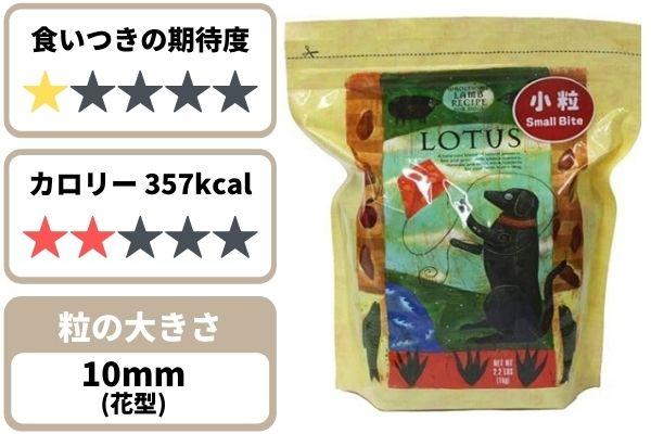 ロータスの食いつき期待度★1、357kcal、粒の大きさ約10mm花形