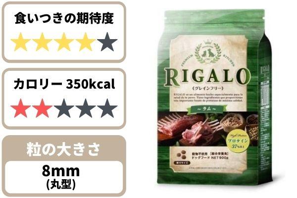 リガロの食いつき期待度★4、350kcal、粒の大きさ約8mm丸形