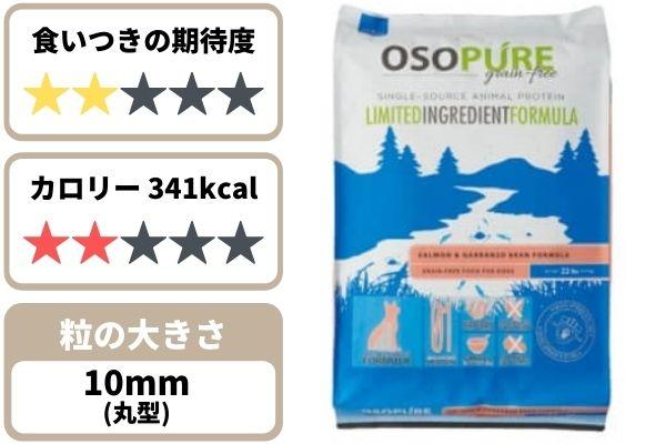 オソピュアの食いつき期待度★2、341kcal、粒の大きさ約10mm丸形
