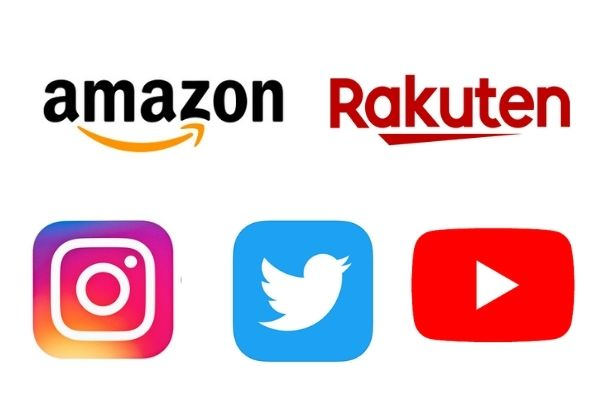 amazon・楽天・instagram・twitter・youtubeのロゴ