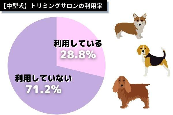 中型犬種のトリミングサロンの利用率は?